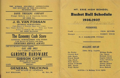 1936 37 Mt. Erie H.S. Basketball Schedule0001