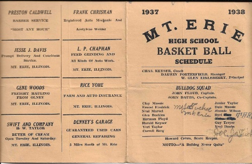 1937 38 Mt. Erie H.S. Basketball Schedule0001