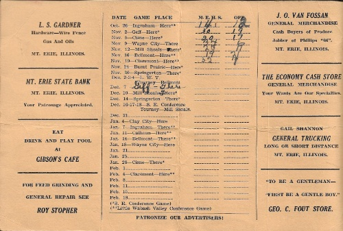 1937 38 Mt. Erie H.S. Basketball Schedule0002