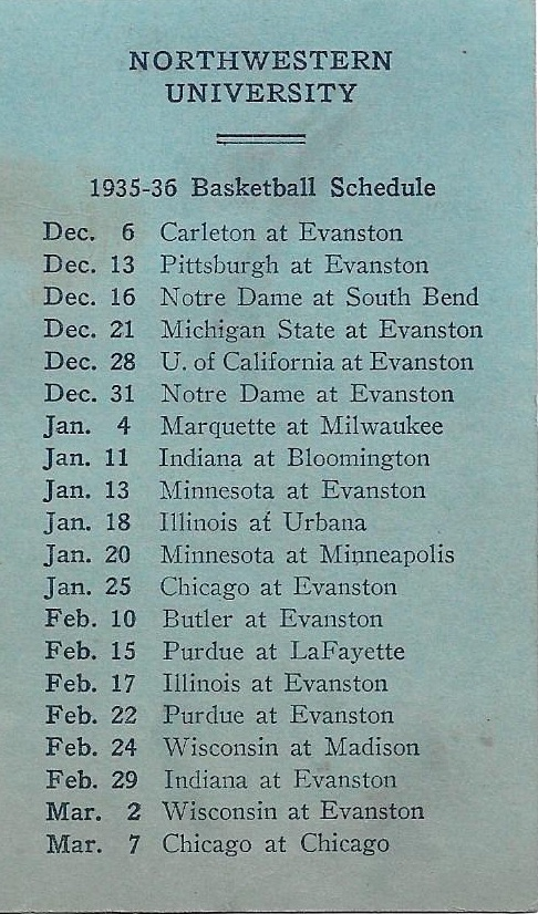 1935 36 Northwestern University Basketball Schedule