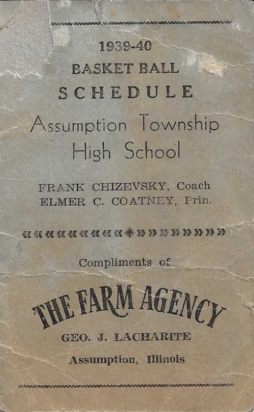 1939 40 Assumption H.S. Basketball Schedule0001