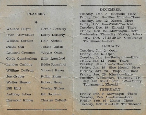 1939 40 Assumption H.S. Basketball Schedule0002
