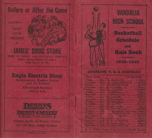 1939 40 Vandalia H.S. Basketball Schedule2