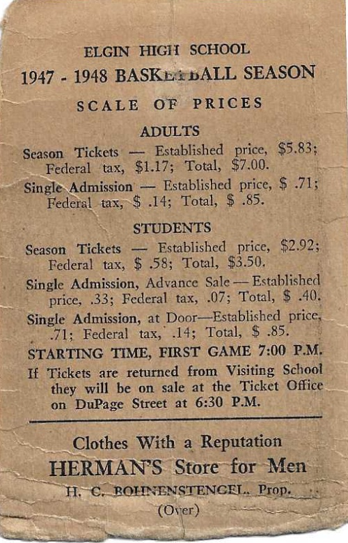 1947 48 Elgin H.S. Basketball Schedule0001